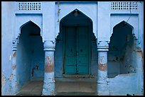 Blue porch of Brahmin house. Jodhpur, Rajasthan, India
