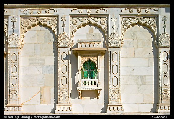 Detail of wall built of carved sheets of marble, Jaswant Thada. Jodhpur, Rajasthan, India