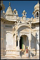 Man with turban standing in front of the entrance of Jaswant Thada. Jodhpur, Rajasthan, India (color)