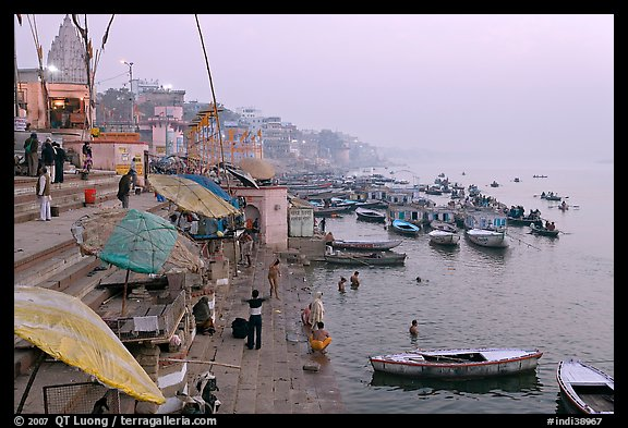 Foggy dawn on the banks of the Ganges River. Varanasi, Uttar Pradesh, India (color)