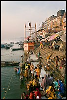 People about to bathe in the Ganga River at sunrise. Varanasi, Uttar Pradesh, India ( color)