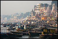 Boats and temples of Dasaswamedh Ghat, sunrise. Varanasi, Uttar Pradesh, India ( color)