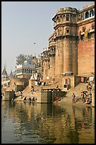 Castle-like towers and steps, Ganga Mahal Ghat. Varanasi, Uttar Pradesh, India ( color)