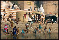 Hindu people on the steps of Sankatha Ghat. Varanasi, Uttar Pradesh, India