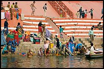 Women bathing at Meer Ghat. Varanasi, Uttar Pradesh, India ( color)
