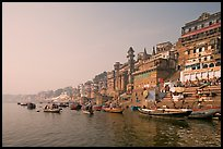 Bathing ghats and Ganga River at sunrise. Varanasi, Uttar Pradesh, India ( color)