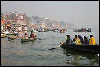 Rowboats on Ganges River. Varanasi, Uttar Pradesh, India ( color)