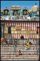 Temple with colorful stripes and steps. Varanasi, Uttar Pradesh, India