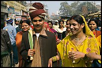 Bride and groom in a street. Varanasi, Uttar Pradesh, India