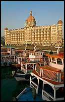 Tour boats in front of Taj Mahal Palace Hotel. Mumbai, Maharashtra, India ( color)