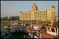 Tour boats and Taj Mahal Palace Hotel. Mumbai, Maharashtra, India ( color)