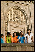 Girls in front of Gateway of India. Mumbai, Maharashtra, India ( color)
