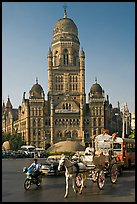 Horse carriage and colonial-area building of Bombay Municipal Corporation. Mumbai, Maharashtra, India ( color)