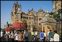Crowd in front of Chhatrapati Shivaji Terminus. Mumbai, Maharashtra, India ( color)