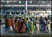 Women on train platform, Victoria Terminus. Mumbai, Maharashtra, India ( color)
