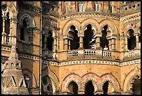 Arched openings on facade, Chhatrapati Shivaji Terminus. Mumbai, Maharashtra, India ( color)