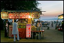 Food kiosks at sunset, Chowpatty Beach. Mumbai, Maharashtra, India ( color)