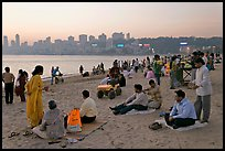 Chowpatty Beach, sunset. Mumbai, Maharashtra, India ( color)