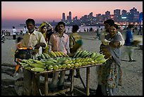 Corn stall at twilight, Chowpatty Beach. Mumbai, Maharashtra, India