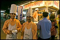 Cooks in front of Panipuri stall, Chowpatty Beach. Mumbai, Maharashtra, India ( color)
