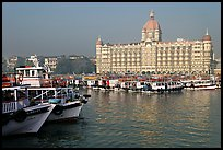 Tour boats and Taj Mahal Palace, morning. Mumbai, Maharashtra, India ( color)