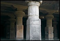 Pilars in main cave, Elephanta Island. Mumbai, Maharashtra, India ( color)