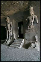 Siva shrine, main  Elephanta cave. Mumbai, Maharashtra, India ( color)