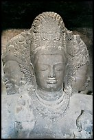 Triple-headed Shiva sculpture, Elephanta caves. Mumbai, Maharashtra, India ( color)