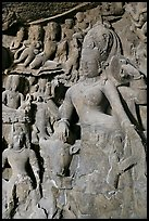 Ardhanarishwar rock-carved sculpture, main Elephanta cave. Mumbai, Maharashtra, India ( color)