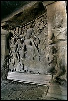 Shiva Shakti rock-carved sculpture, main Elephanta cave. Mumbai, Maharashtra, India ( color)