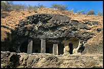 Rock-caved cave, Elephanta Island. Mumbai, Maharashtra, India ( color)