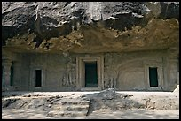 Cave with sculptures and entrances, Elephanta Island. Mumbai, Maharashtra, India ( color)