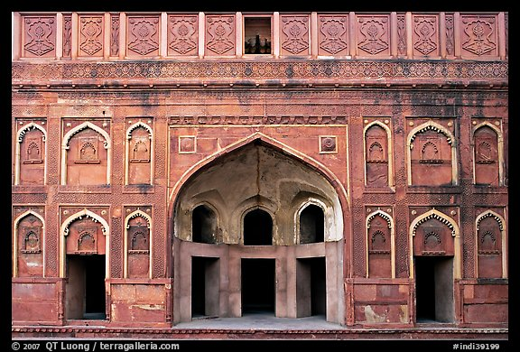 Alcove and wall, Jehangiri Palace, Agra Fort. Agra, Uttar Pradesh, India
