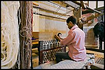 Man weaving a carpet. Agra, Uttar Pradesh, India