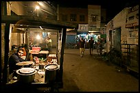 Food vendor and street by night, Taj Ganj. Agra, Uttar Pradesh, India