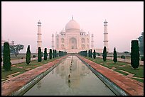 Ornamental gardens and Taj Mahal, sunrise. Agra, Uttar Pradesh, India ( color)