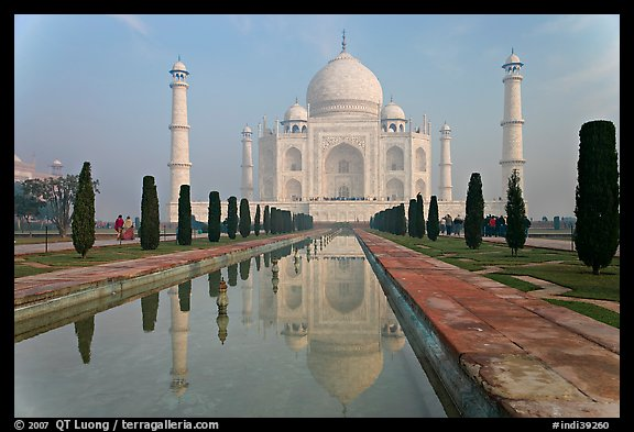 Mughal gardens with watercourse and Taj Mahal. Agra, Uttar Pradesh, India