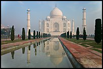 Mughal gardens with watercourse and Taj Mahal. Agra, Uttar Pradesh, India ( color)
