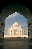 Taj Mahal seen through arch of Jawab, morning. Agra, Uttar Pradesh, India ( color)