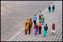 Families walking on decorated terrace, Taj Mahal. Agra, Uttar Pradesh, India ( color)