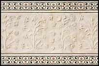 Vegetative motifs on white marble dados, Taj Mahal. Agra, Uttar Pradesh, India ( color)