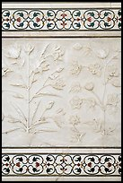 Bas reliefs and pietra dura inlays of flowers, Taj Mahal. Agra, Uttar Pradesh, India ( color)
