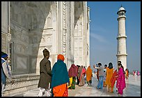 Colorful tourists on the platform, Taj Mahal,. Agra, Uttar Pradesh, India ( color)
