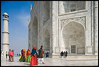 Base of Taj Mahal, minaret, and tourists. Agra, Uttar Pradesh, India ( color)