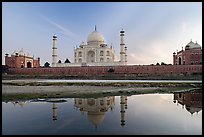 Taj Mahal complex seen from  Yamuna River. Agra, Uttar Pradesh, India ( color)
