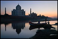 Boat on Yamuna River in front of Taj Mahal, sunset. Agra, Uttar Pradesh, India ( color)
