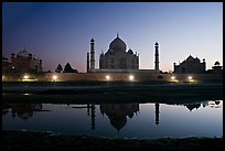 Jawab, Taj Mahal, and Taj Mahal mosque over Yamuna River at dusk. Agra, Uttar Pradesh, India ( color)