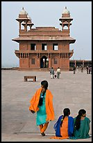 Women, Pachisi courtyard, and Diwan-i-Khas. Fatehpur Sikri, Uttar Pradesh, India ( color)