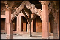 Columns in front of the Treasury building. Fatehpur Sikri, Uttar Pradesh, India ( color)