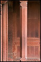 Carved columns and wall of the Rumi Sultana building. Fatehpur Sikri, Uttar Pradesh, India ( color)